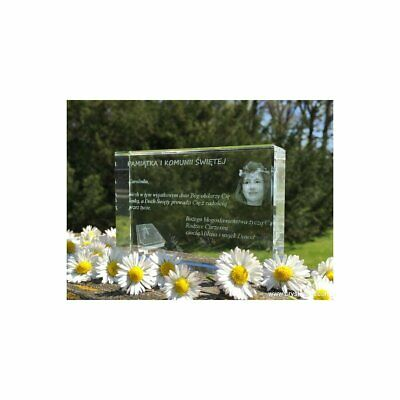Personalised frame crystal - First Communion. Crystal gift. Laser Engrave Photo