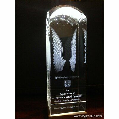 Personalised engraved crystal- a original trophies. Crystal cuboid with copula.