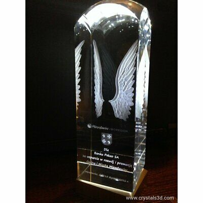 Personalised engraved crystal 3D- a original trophies. cuboid with copula.Stamp.