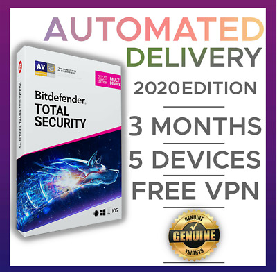 Bitdefender Total Security 2019 + Multi-Device, 3 Months, 5 Devices, VPN, Mobile