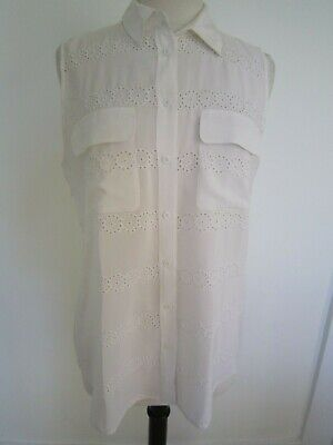 e3b66965e71e8 Equipment 100% Silk White Sleeveless Button Down Eyelet Collared Shirt Top  Large