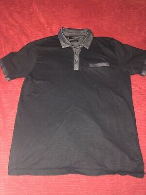 74c1a1b26bd Denim   Flower Ricky Singh Luxury Collection Black Mens Polo Shirt Size  Large