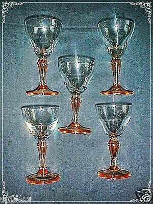 ART DECO 1930's ERA COCKTAIL STEM CRANBERRY RED DRINK GLASSES 5 SET LOT
