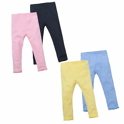 Girls 4 Pack Leggings Cotton Rich Pants Lace Trim Soft Stretch Plain Everyday