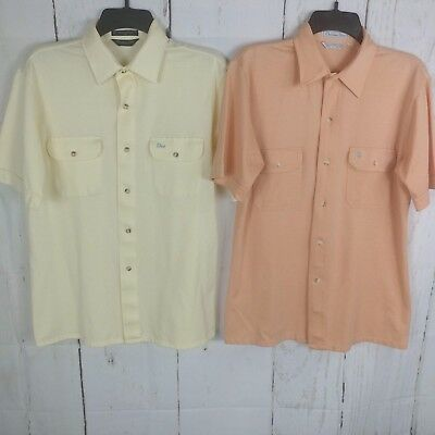 ebec071988 Lot of 2 Vintage Christian Dior Short Sleeve Button Front Shirts Spellout  Medium