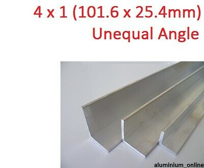 ALUMINIUM UNEQUAL ANGLE 4 x 1 (101.6 x 25.4mm) 1 thickness, lengths 100mm - 2.5m