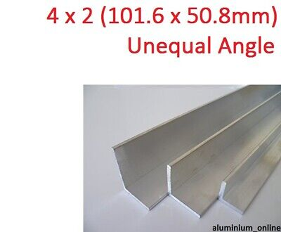 ALUMINIUM UNEQUAL ANGLE 4 x 2 (101.6 x 50.8) 2 thickness, lengths 100mm-  2.5m