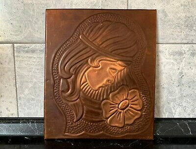 METAL ART: Retro Soviet Decor Copper Russian checanka wall art girl with flower