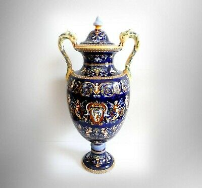 Gien France LARGE lidded urn with Fond Bleu pattern - cherubs - hand painted