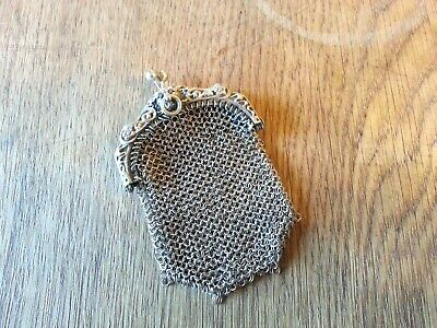 Antique French Victorian Silver Chain Mail Chatelaine Coin Purse