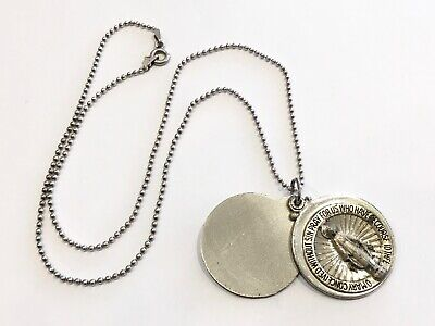 Creed Sterling Silver Religious Miraculous Virgin Mary Necklace Swivel Medal Vtg