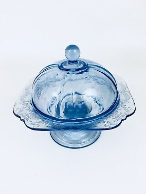 Indiana Glass Footed Candy Butter Dish & Lid Recollection Blue