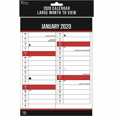 A3 2019 Large Month To View Wall Calendar Lunar Engagement Full Planner Office