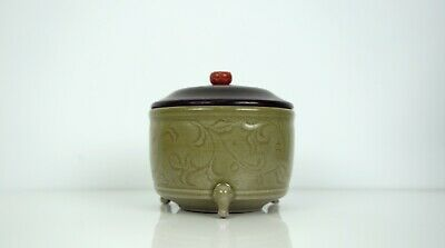 A Longquan Celadon Tripod Cylindrical Censer with Wooden Cover