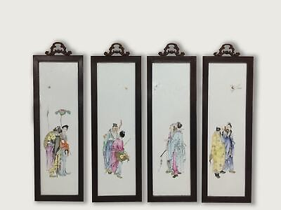 Four Framed Famille Rose 'Eight Immortals' Plaques