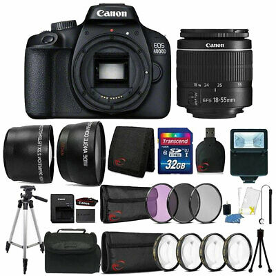 Canon EOS 4000D Rebel T100 18MP Digital SLR Camera + 18-55mm Lens + 32GB Bundle