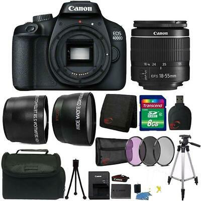 Canon EOS 4000D 18MP Digital SLR Camera + 18-55mm Lens + 8GB Accessory Kit