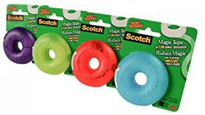 "4 Pk Scotch 3M Magic Tape Donut Dispenser Refillable 3/4 x 300"" Grn,Purp,Blu,Red"