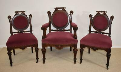 3 Victorian Parlor Chairs Carved Storks Burled Walnut 1880's