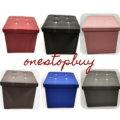 Large Double Single 2 Seater Foldable Storage Ottoman Toy Box Seat Foot Stool
