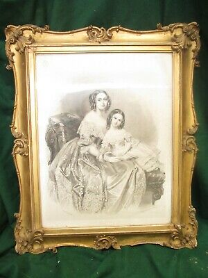 18th century gilt rectangular scroll frame with pen and ink drawing (ref 654)