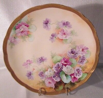 Antique GINORI Cabinet Plate ARTIST PAINTED & SIGNED Made In Italy HEAVY GOLD