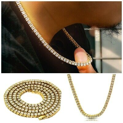 6e275038672a9a 14k Yellow Gold ICED OUT Lab Diamond Mens 1 Row Tennis Chain Hip Hop  Necklace