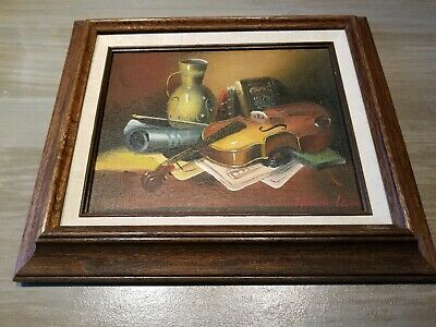 Framed Original Frank Lean Vintage Oil Painting - Music/violin Still Life