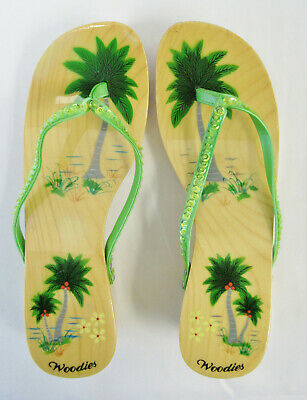 1fcac831fabc Woodies Hand Painted Sandals w  Palm Tree Flip Flops Thong - Size 7 - Worn