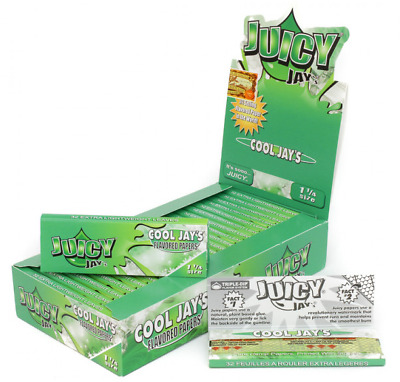 Juicy Jay's Cool Jay's 1 1/4 - 3 PACKS - Green Flavor Rolling Paper Jay J Jays