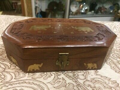 Vintage Antique Ethnic Solid Wood Inlaid Brass Trinket Jewelry Stash Box