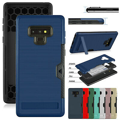 For Samsung Galaxy Note 9 Case Note 8 Shockproof Rubber Card Holder Stand Cover