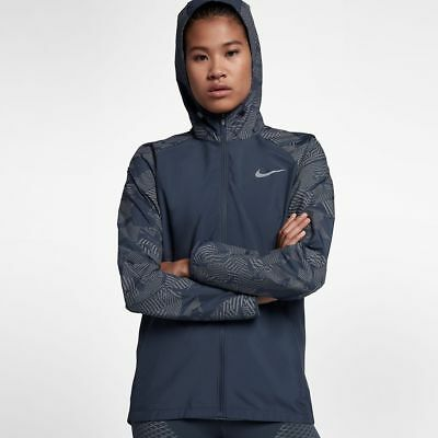 e7dc3510f42e Nike Essential Flash Women s Reflective Running Jacket S Blue Gym Casual New