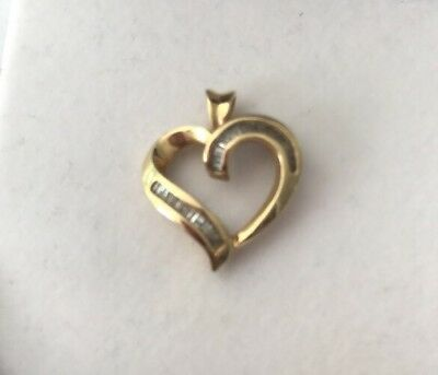 14k Yellow Gold Baguette Diamond Heart Love Pendant For Necklace