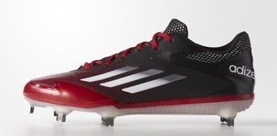 online store 8608b 3ec81 New adidas adizero Afterburner 2.0 Low Black Red Metal Baseball Cleats 12  MLB