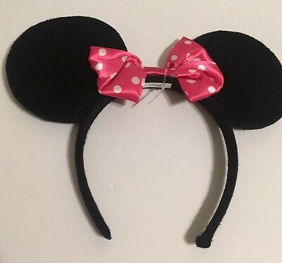Disney Parks Minnie Mouse Ears Bow WDW Pink & Black Sequin Headband Hat.