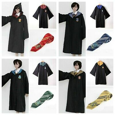 Adults Kids Harry Potter Costume Robe+Tie Gryffindor Ravenclaw Cosplay Book Week
