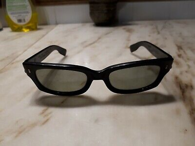 "301424a6482 Vintage 1960s ""Cool Ray"" N135 Cari Michelle Polaroid Black Rectangle  Sunglasses"