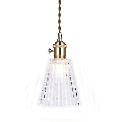AMY Vintage Glass Pendant Light Gold Hardware Tapered Shade Chic French Style