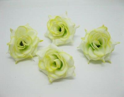 100 Green & Yellow Artificial Rose Flower Head Embellishment