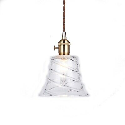 BELLE Vintage Glass Pendant Light Gold Hardware Tapered Shade Chic French Style