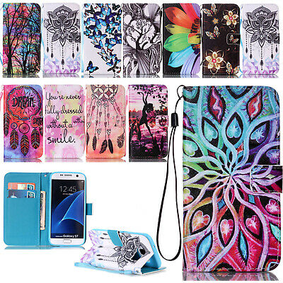 For Samsung Galaxy S5 S6 S7 Case Leather Magnetic Flip Luxury Stand Wallet Cover