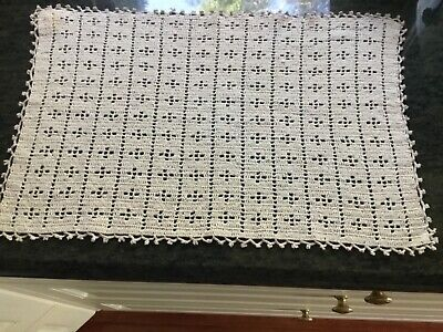 Vintage crochet doily table centrepiece rectangular cream