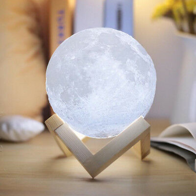 USB 3D Printing Moon Lamp LED Night Lunar Light Moonlight Touch Color Changing