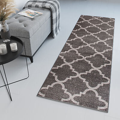 Tapiso Runner Rug Dark Grey Long Narrow Hallway Moroccan Trellis Quality Rugs