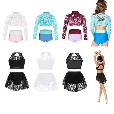 Girls Kids 2-Piece Floral Lace Crop Top&Briefs Outfits Dancewear Dancing Costume