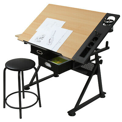 Drawing Desk with Stool & 2 Drawers Tiltable Tabletop Writing Table Home Office