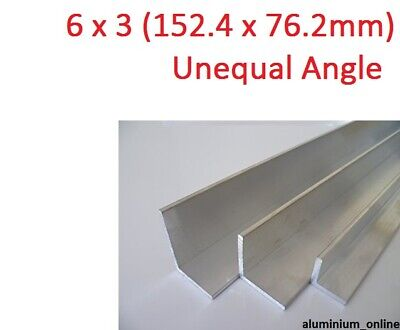 ALUMINIUM UNEQUAL ANGLE 6 x 3 (152.4 x 76.2mm) 2 thickness, lengths 100mm - 2.5m