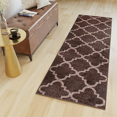 Tapiso Runner Rug Brown Soft Long Narrow Hallway Moroccan Trellis Quality Rugs
