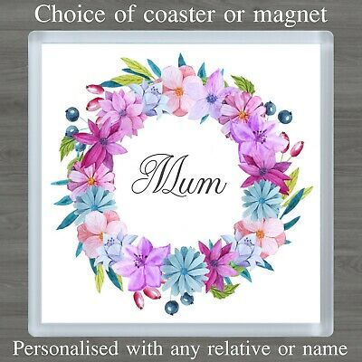 Personalised Flower Coaster or Magnet Birthday Mummy Nan Auntie Gift